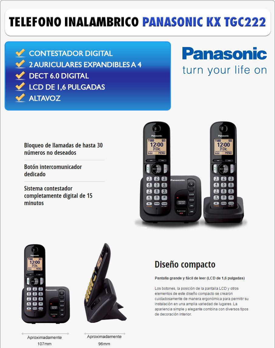DATECO Telefonia y Datos - telefono inalambrico PANASONIC KX TGC 222 DECT 6.0 CONTESTADOR DIGITAL - CALLER ID - MANOS LIBRES - MODO NOCTURNO - BLOQUEADOR DE LLAMADAS - OFERTA!!!