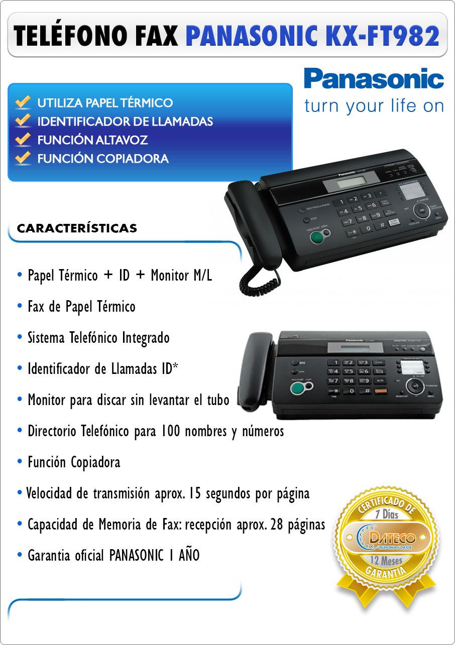 DATECO telefonia y datos - Nuevo teléfono FAX Panasonic kx tf 982 Caller ID - Altavoz - Papel térmico