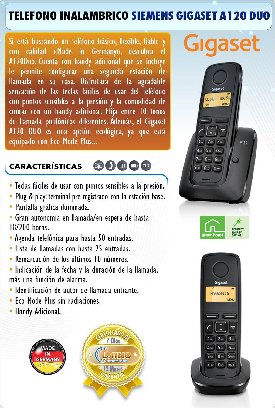 DATECO telefonia y datos - telefono inalambrico Siemens Gigaset A120 duo manos libres